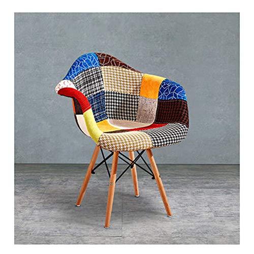 Stoel huis massief hout eenvoudige moderne mode Deense stof bloem doek vrije tijd kantoor bank stoel 61×62×80cm stijlnaam Large 3