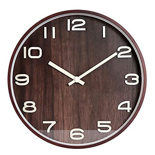 WWKDM1 Reloj de Pared Reloj de Pared Columpio Mudo, Reloj de Pared nórdico Simple de Madera, Reloj de Pared Vintage Simple