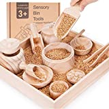 Crisschirs Sensory Bin Tools with Wooden Box, Montessori Toys for Toddlers, Sensory Toys, Set of 12 Wooden Scoops and Wooden Tongs for Transfer Work and Fine Motor Learning, Motor Skills Development