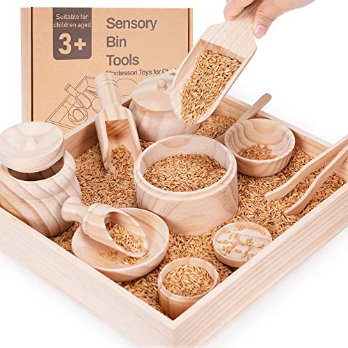 Sensory Bin Tools with Wooden Box, Montessori Toys for Toddlers, Sensory Toys, Set of 12 Wooden Scoops and Wooden Tongs for Transfer Work and Fine Motor Learning, Motor Skills Development