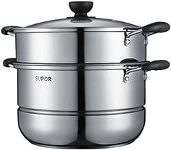 MSWL Steamer,stainless Steel Steamer, 30cm Easy To Store Stainless Steel Double Bottom Steamer S31 hot pot, kitchen utensi...