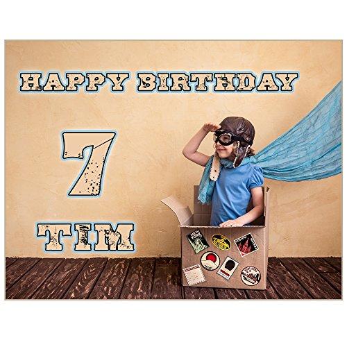 Tortenaufleger mit Wunschfoto und Wunschtext Geburtstag Tortenbild Zuckerbild Oblate Tortenplatte mit eigenem Foto und Text (Zuckerpapier A4 26x18cm)