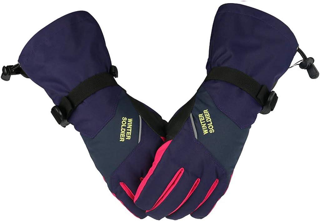 Women Ski Gloves Waterproof Outdoor Warm Touchscreen Windproof Anti-Slip