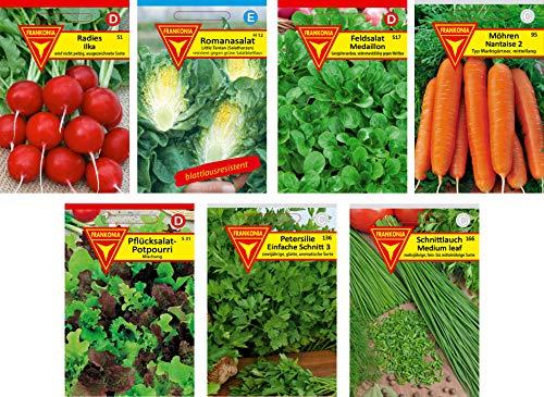 Frankonia-Samen / Gemüse- und Kräutersamen / Samen-Sortiment / 7 Sorten / Radies / Bataviasalat / Feldsalat / Möhren / Pflücksalat /Petersilie / Schnittlauch