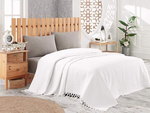BOHORIA® Tagesdecke in Waffeloptik Urban Loft extra groß 200 x 220cm   100% Baumwolle   Überwurf für Sofa, Sessel & Bett   Kuscheldecke Sofadecke Wolldecke Wohndecke (The Urban Loft) (Pearl)