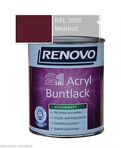 Acryl-Buntlack 2-in-1 750 ml RAL 3005 Weinrot seidenmatt Renovo