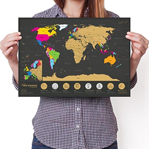 Mapa para rascar de las Siete Maravillas del Mundo – A3 Diario de Viaje – Póster personalizado de seguimiento de viajes – Reviva y comparta sus aventuras (Negro | 29,7 x 42 cm)