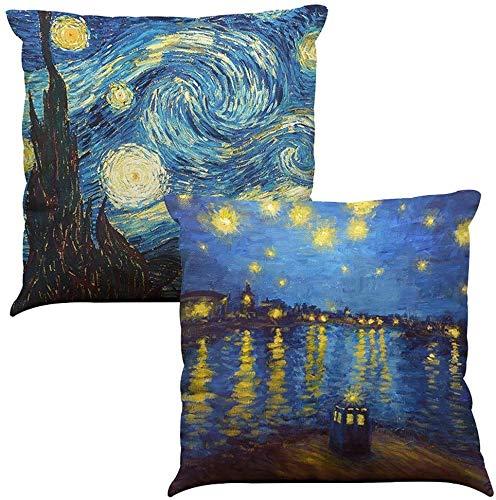 TEALP Starry Night di Vincent Van Gogh Fodera per Cuscino Fodera per Cuscino Fodera per Cuscino Art con Cerniera 45 X 45 cm Set di Due