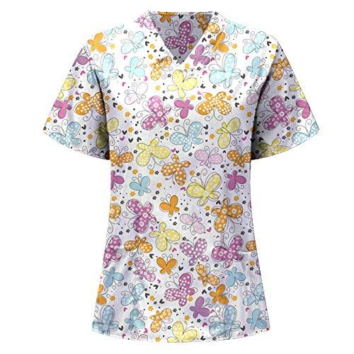 NNAA Damen Kasacks Pflege Bunt V-Ausschnitt Schlupfkasack Schlupfjacke Motiv Bluse Top Kurzarm Arbeitskleidung Berufsbekleidung Unisex Uniform