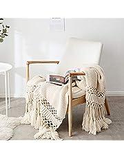 JEANNELIFE Luxus Stilvolle Handgemachte Strickdecke Wohndecke Gestrickte Decke mit Quaste für Nap Wohnzimmer/Büro 120 x180cm