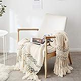 Gestrickte Decke mit Quaste Beige für Nap auf dem Stuhl Sofa und Bet, Weich und Warm Kuscheldecke,...