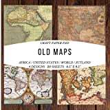 Craft Paper Pad Old Maps Africa / United States / World / Jutland: Origami Vintage Flowers Pattern Scrapbooking Cardmaking Craft DIY Die Cuts Stickers ... Album for Kids Party Christmas Greeting Cards