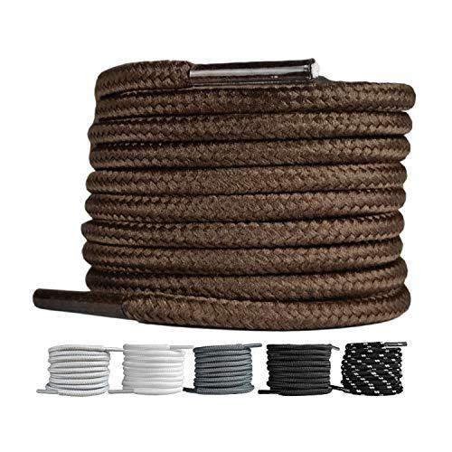 LaceHype 2 Paar - Premium Runde Schnürsenkel [ Ø4 mm ] für Arbeitsschuhe, Stiefel, Outdoorschuhe und Sportschuhe reißfeste Schuhbänder Ersatz Shoelaces aus Polyester (Braun, 100)
