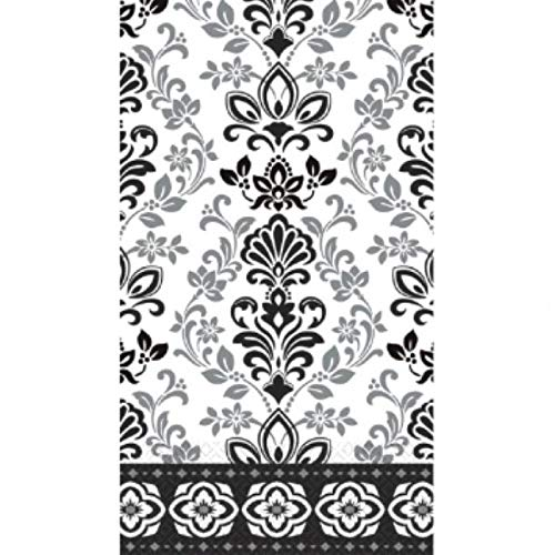 """Black, Silver and White Ornate Damask ECO Guest Paper Towels   16 Ct.   8"""" x 4"""""""