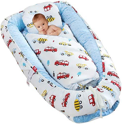 Craftsboys - Tumbona para bebé recién nacido, cuna portátil para cama, cama de bebé para dormir, para dormitorio, para abrazar, descansar y viajar azul Coche