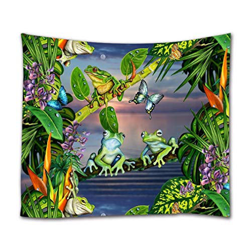 A.Monamour Watercolor Tropical Leaves Flowers Green Frog On Tree Branch Butterfly Textile Fabric Wall Hanging Tapestry Curtains Tablecloth Bedspread Art Decors for Bedroom