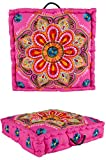 Orientalischer eckiger pouf aus Baumwolle 50x50 cm inklusive Füllung | Marokkanisches Sitzkissen...