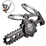 lady bottle opener - hephis Chainsaw Skull Car Keychain with Dual Rings for Men,Women,Bottle Opener(Gun Black)