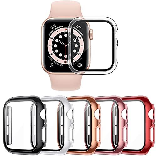 VASG [5 Piezas] Funda Compatible con Apple Watch Series 6/5/4/SE 40mm PC Funda con Protector de Pantalla de Vidrio Templado compatible con iWatch