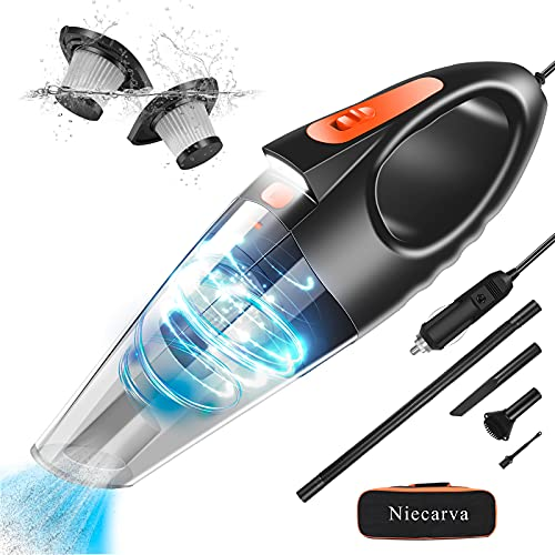 Niecarva Car Vacuum, Portable Vacuum Cleaner with 7500PA/150W/12V High Power, Handheld Vacuum Cleaner for Car with LED Light 16.4 Ft Cord, Car Accessories Cleaning Kit for Men Women is $30 (25% off)