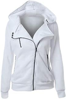 Women Jacket Spring Autumn Winter Ladies Oblique Zipper Hoodie Coat Long Sleeve Blouse
