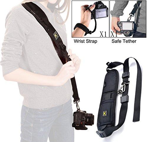 wisdomstar Kamera gurt Schultergurt mit Sicherheit Tether, Rapid Fire Sling Gürtel Quick Release, und Kamera Handschlaufe /Handgelenk, für DSLR SLR Kamera für Frauen und Männer