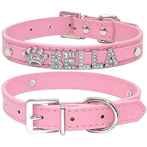 Hundehalsband Strass-Welpen-Hundehalsbänder Personalisierte kleine Hunde Chihuahua Kragen Amuletten Free Name Charms Tierzubehör (Color : Pink, Size : XS)