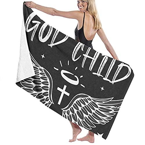 Toalla de natación ligera Super suave cristiano alas bautismo regalos para Dios negro para mujeres hombres 80*130 cm
