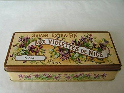 boite metal decorative 19x9x4 cm savon aux violettes de nice