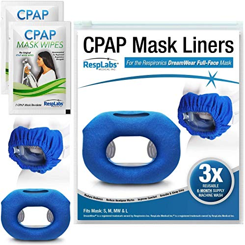 RespLabs CPAP Mask Liners for Full Face Masks, Compatible with the Respironics DreamWear Full Face CPAP Mask - 3 Pack Reusable Fleece Cover - Includes 2 Travel Wipes and CPAP Comfort Hacks E-Book.