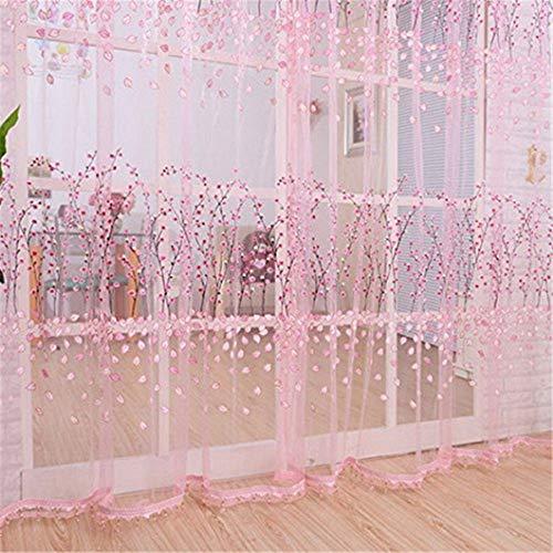 Ogquaton 100 cm x 200 cm porte fenêtre romantique balcon impression florale tulle panneau de rideau en voile pour la décoration intérieure rose pratique et pratique