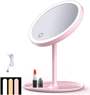 Makeup Mirror Makeup Mirror LED Fill Light Microscopy Base Storage Portable Detachable HD, 2 Colors, 177x280x180mm (Color : Pink)