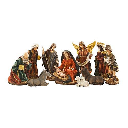 BRUBAKER Nativity Set - 14 Inches - 11 Figurines - Christmas Decoration - Nativity Scene