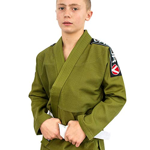 Valor Kids Bravura BJJ GI - Cinturón blanco gratis, color verde, tamaño M1
