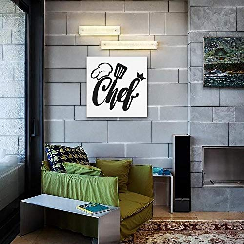 Canvas Prints Wall Art Paintings Home Decor Stretched Framed Ready to Hang Chef Hat Spatula Silhouette Cook Cooking Food Quotes and Sayings Art Prints, Picture Canvas Print Wall Art, Wall Hanging, the