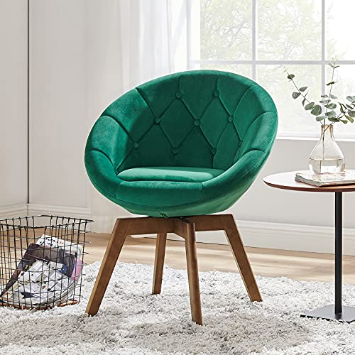 Volans Mid Century Modern Velvet Tufted Round Back Upholstered Swivel Accent Chair Dark Green with Wood Legs Vanity Chair, Home Office Desk Chair for Living Room Bedroom Study