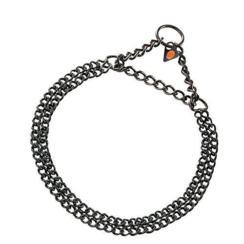 luvmydog Beißwurst schwarz Edelstahl Twin Row flach Link Martingal 2.0mm Hund Halsband