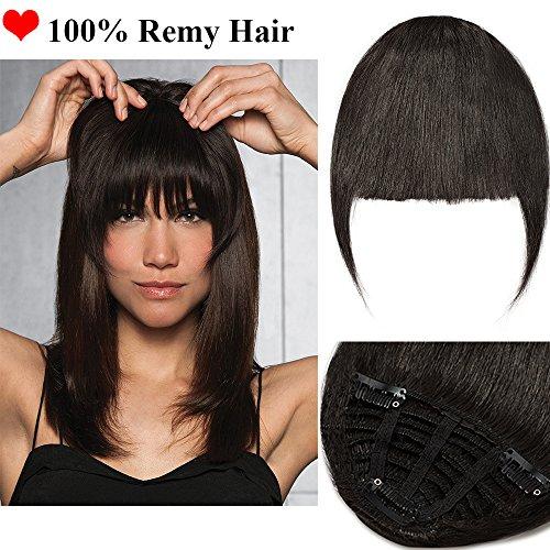 Clip in Pony 100% Remy Echthaar Fringe Bangs One Piece Real Haarteil In Front Hair Extension Verlängerung natürliche Naturschwarz#1B Pony-25 g