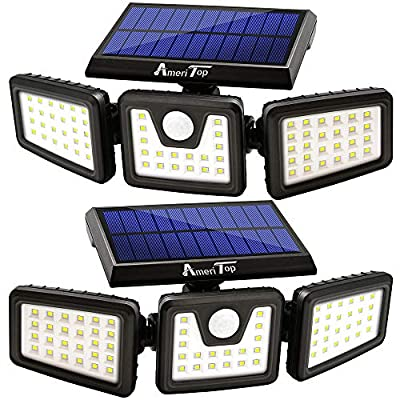 Solar Lights Outdoor, AmeriTop 800LM Wireless LED Solar Motion Sensor Lights Outdoor; 3 Adjustable Heads, 270° Wide Angle Illumination, IP65 Waterproof, Security LED Flood Light- 2 Pack