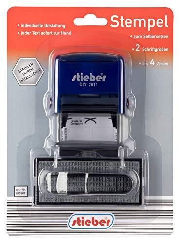 Selbstsetz-Stempel, 18x47 mm für bis zu 4 Textzeilen in 2 Schriftgrößen selber setzen selbstsetzen selbstmachen von Stieber