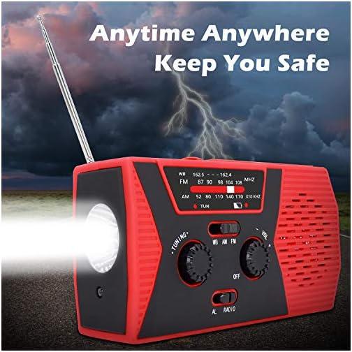 2020 Upgraded Emergency Solar Hand Crank Radio, RegeMoudal Hand Crank AM/FM/NOAA Weather Radio with Flashlight, Reading… 5