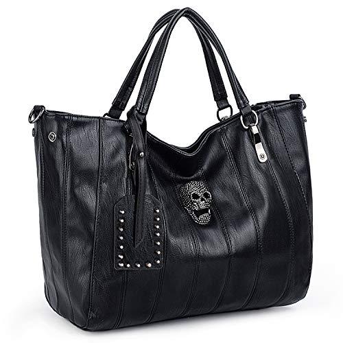 UTO Women Skull Tote Bag Top Handles Handbag PU Leather Purse Shoulder Bags Strap