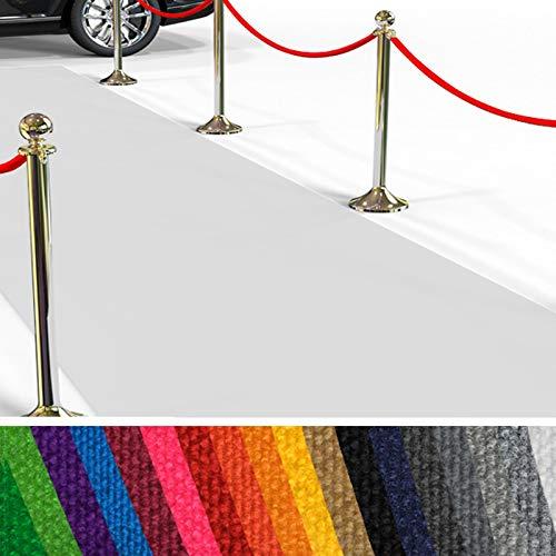etm Alfombra para Eventos | Alfombras de Pasillo Hollywood | Alfombras Hollywood para Eventos, Gala, Bodas, Presentaciones | 18 Elegantes Colores (Blanco, 200x350 cm)