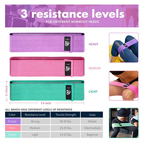 CFX Resistance Bands,Workout Bands for Legs and Butt Exercise bands Fitness, 3 Sets Resistance Level Workout Booty Bands for Women and Men, Best for Home Fitness, Yoga, Pilates