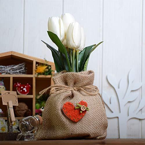 belupai Simulación de 5 cabezas de tulipán en maceta de flores artificiales de seda con bolsa de pistola para decoración de boda, fiesta, hogar, oficina
