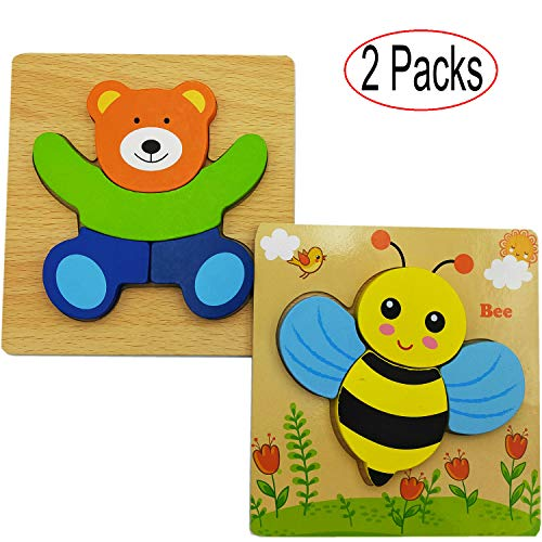 Wooden Jigsaw Puzzles Set for Toddlers Kids 1 2 3 Years Old, Boys and Girls Educational Toys Gift with 2 Animals Patterns, Best Birthday Holiday for Your Kids, Gift Box Packed (2 Pack)