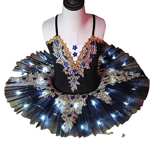 SHADIOA Tutú de Ballet con luz LED, Disfraz de Lago de los cisnes, Vestido de Bailarina para niñas, Vestido de Ballet para niños, Trajes de Escenario de Baile,Negro,170CM
