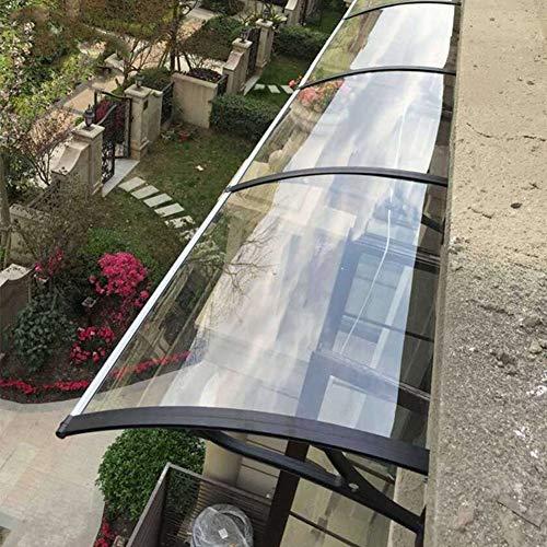 NEVY-tejadillo de protección Marquesina Techo Puerta Exterior Transparente Lluvia Nieve Protección Panel De Policarbonato Refugio De Sombrilla De Techo con Soporte Negro (Size : 120x100cm)
