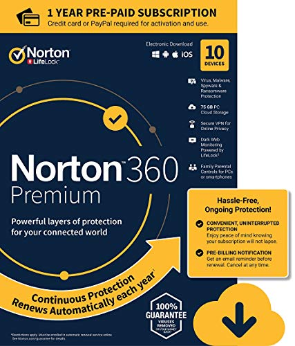 Norton 360 Premium – Antivirus software for 10 Devices with Auto Renewal - Includes VPN, PC Cloud Backup & Dark Web Monitoring powered by LifeLock - 2020 Ready [Download]
