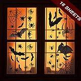 QIMMU 448 Pièces Halloween Stickers Fenêtre,Toile d'araignée Effrayante/Chauves-Souris/araignée,Statique Halloween Décoration (4 Drap/Ensemble,16 Feuilles)